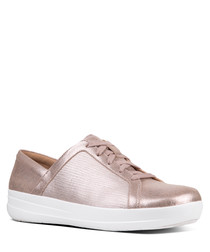 Taupe textured metallic sneakers