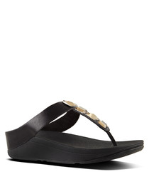 Roka black toe-thong leather sandals