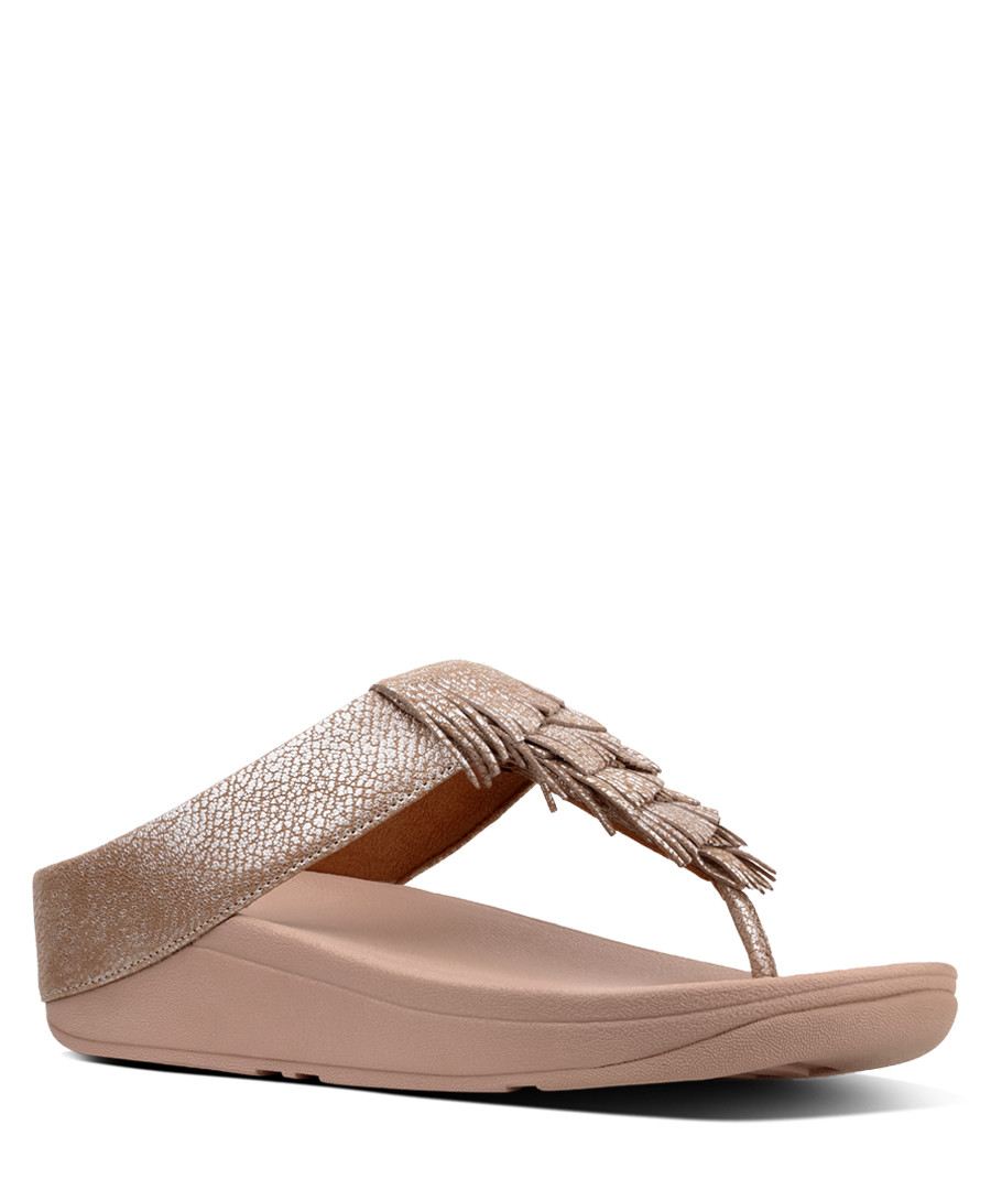 Nude fringed metallic sandals Sale - fitflop