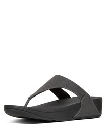 Lulu black shimmer toe-thong sandals