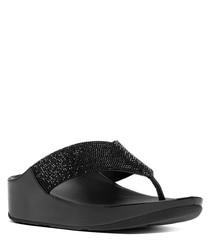 Black embellished toe-thong sandals