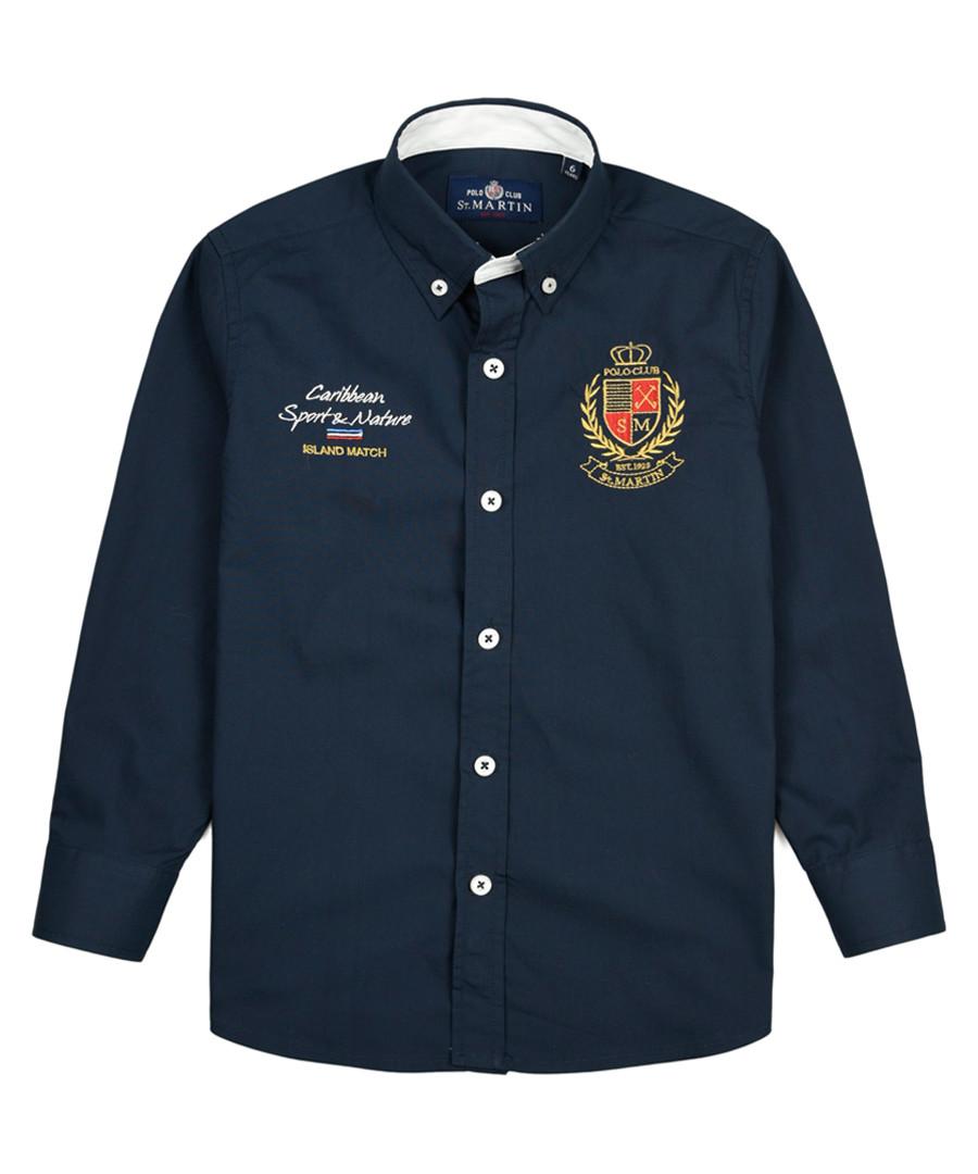 Blue marine pure cotton branded shirt Sale - polo club st. martin