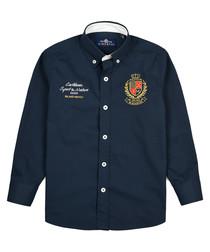 Blue marine pure cotton branded shirt