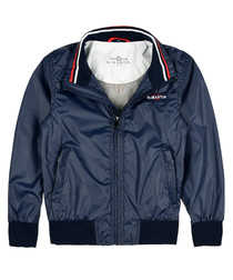 Blue marine branded bomber jacket