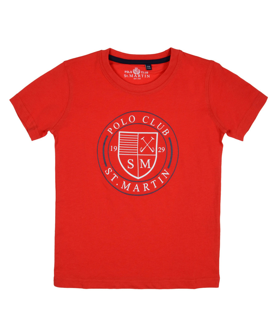 Red pure cotton branded T-shirt Sale - polo club st. martin