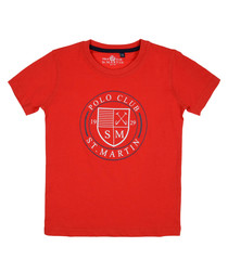Red pure cotton branded T-shirt