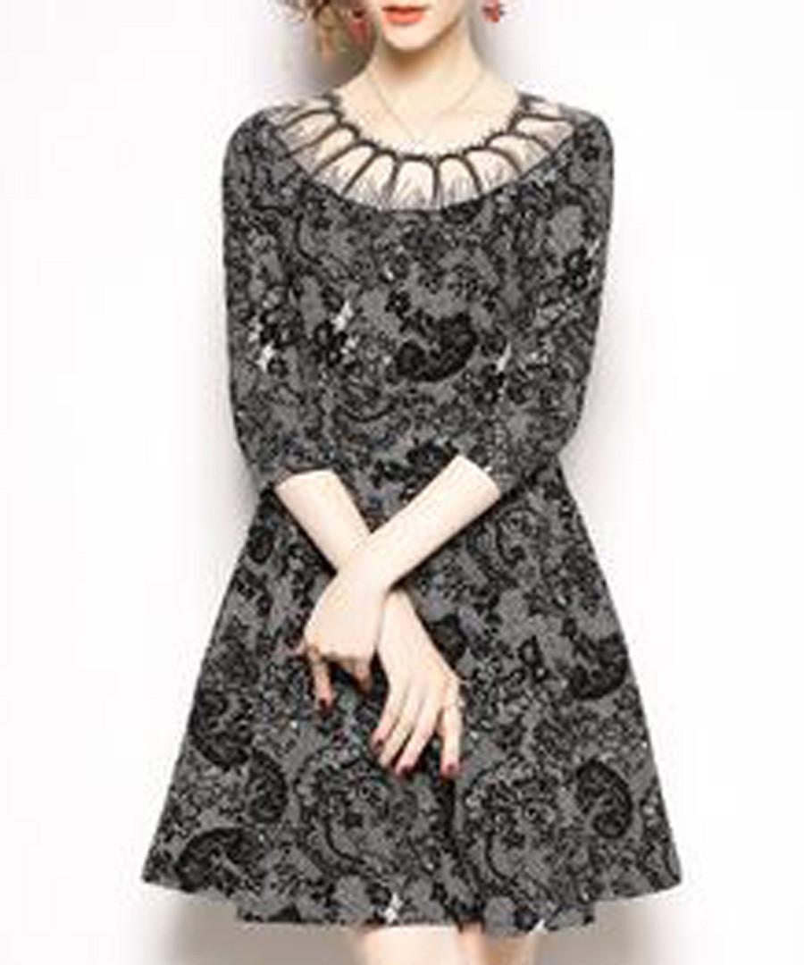 Black & white illusion neck mini dress Sale - Kaimilan