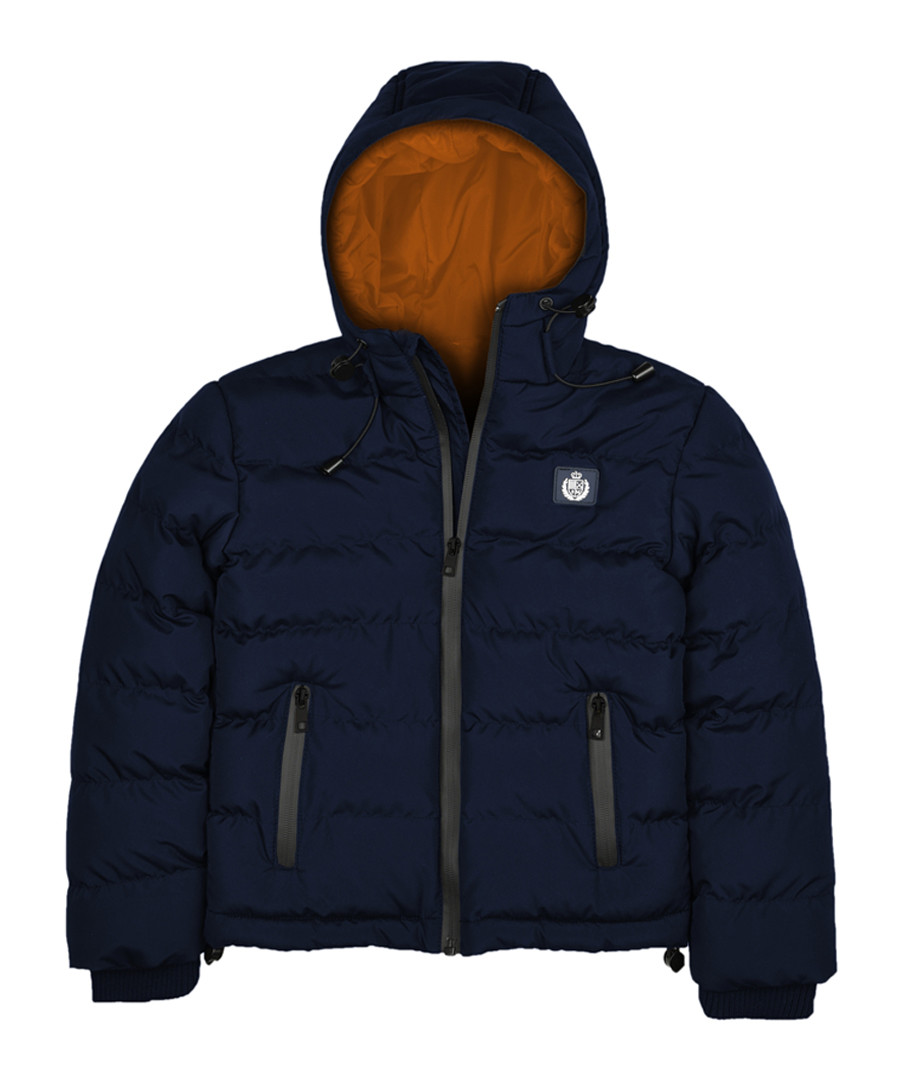Blue navy padded hooded puffer jacket Sale - polo club st. martin