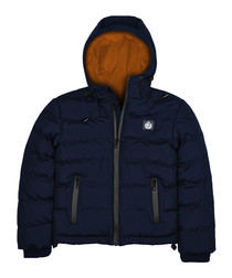 Blue navy padded hooded puffer jacket