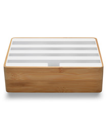 3.0 bamboo & white multi-device dock