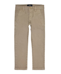 Taupe cotton blend trousers