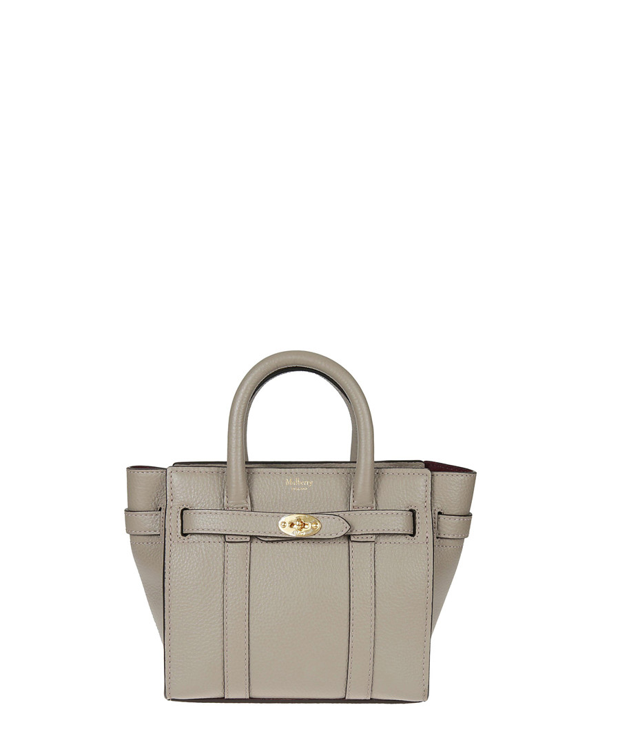 Bayswater solid grey leather bag Sale - MULBERRY