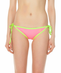 Pink & yellow tie-side bikini bottoms