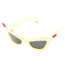 Yellow & lipstick angular sunglasses