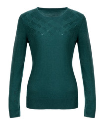 Sea green pure wool crew neck jumper