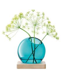 2pc blue axis vase & ash wood base set