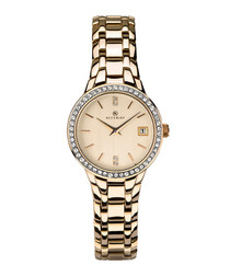 Gold-tone crystal bezel watch