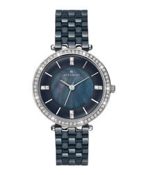 Silver-tone & blue steel crystal watch