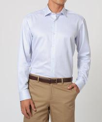 Powder blue pure cotton stripe shirt