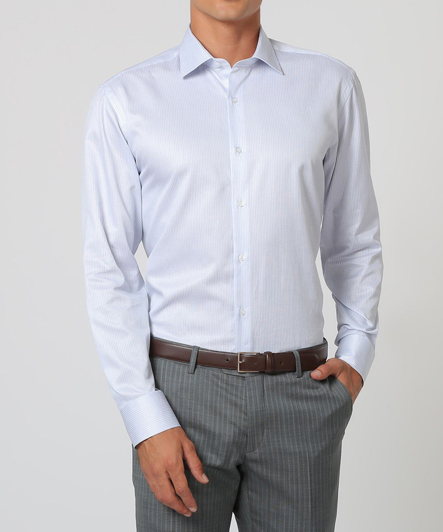 Light sky blue pure cotton stripe shirt Sale - cloth by ermenegildo zegna
