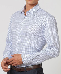 White & blue pure cotton checked shirt