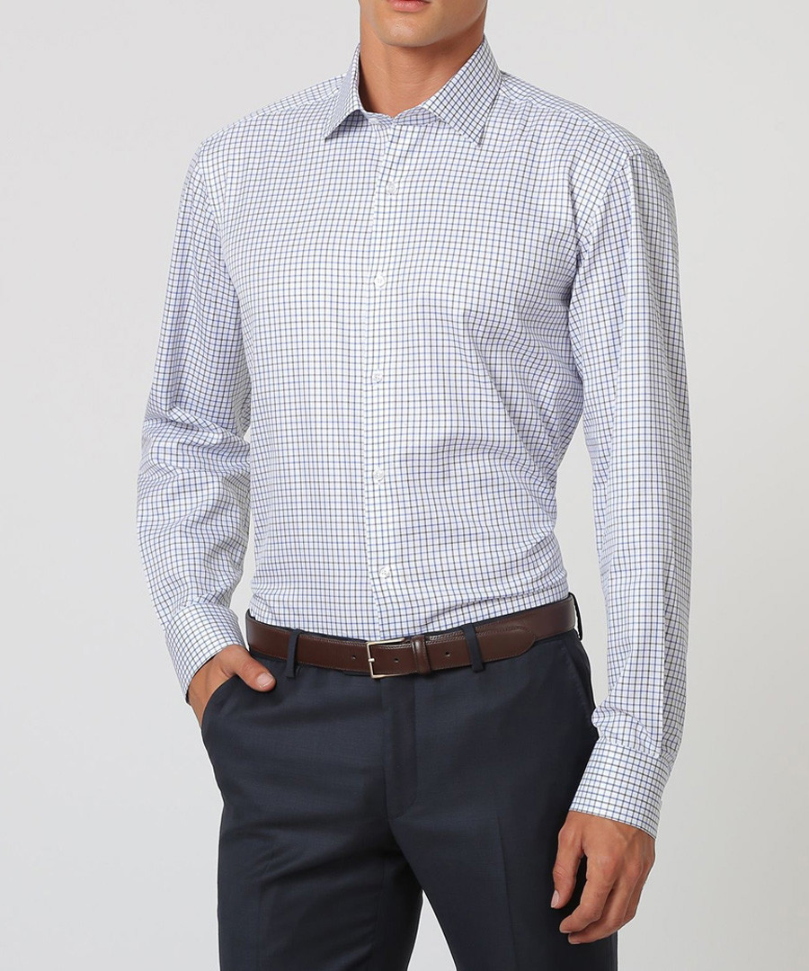 White, black & blue cotton checked shirt Sale - cloth by ermenegildo zegna