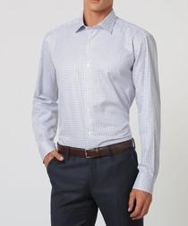 White, black & blue cotton checked shirt
