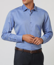 Blue pure cotton formal shirt