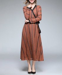 Caramel & black striped wrap dress