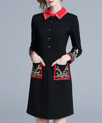 Black embellished long sleeve dress