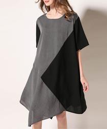 Grey & black asymmetrical shirt dress