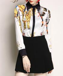 White & black print button-up shirt