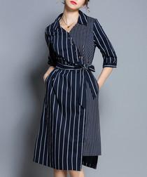 Navy & white stripe panel tie dress
