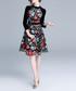 Black & floral 3/4 sleeve dress Sale - kaimilan Sale