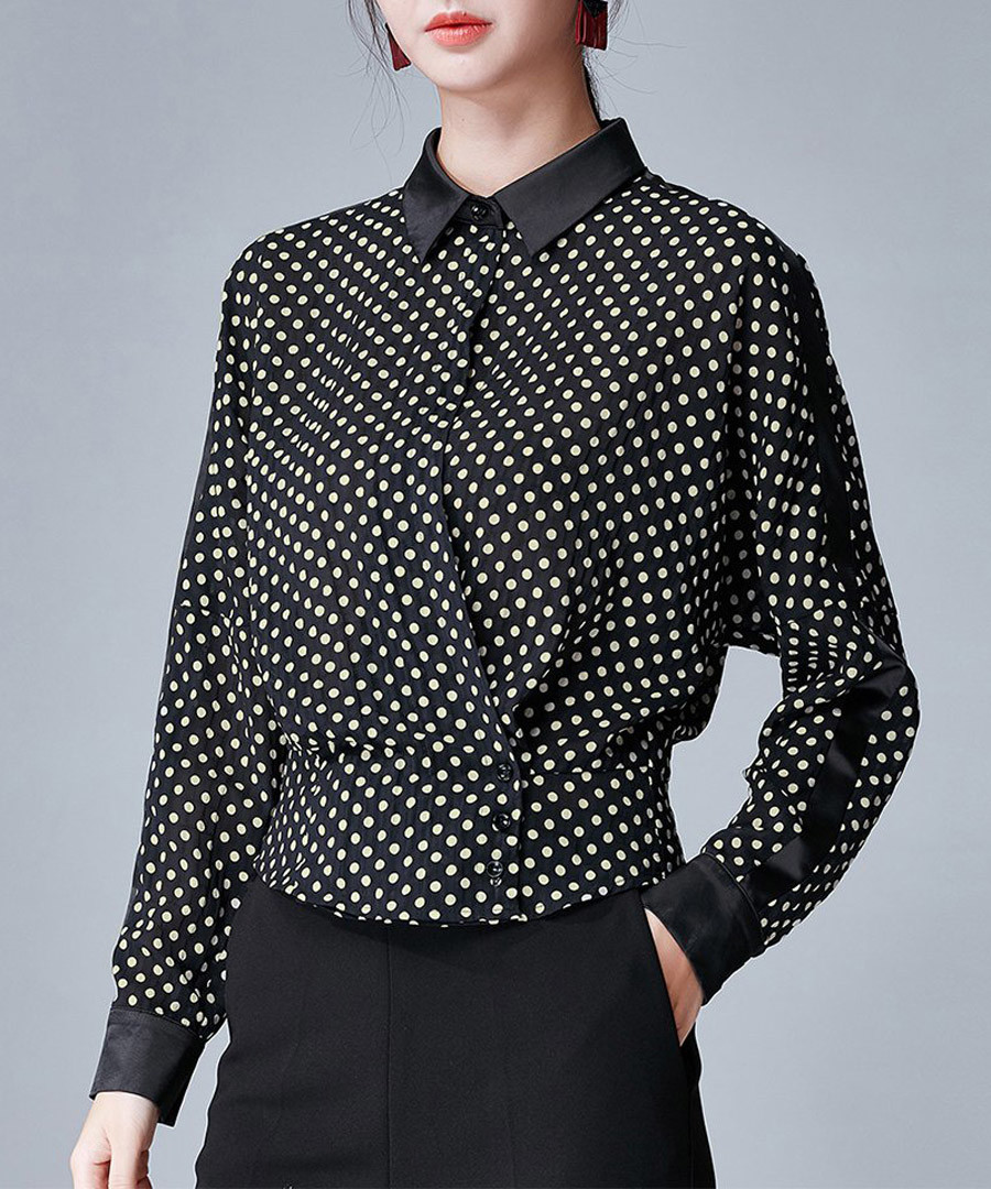 Black & white polka dot shirt Sale - ounixue
