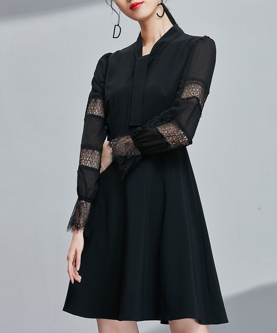 Black sheer panel sleeve dress Sale - ounixue