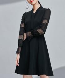 Black sheer panel sleeve dress