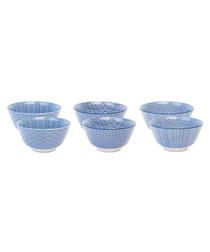 6pc blue ceramic cereal bowl 15cm
