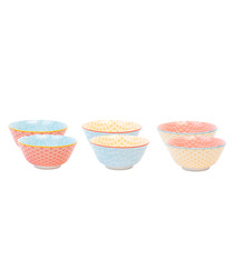 6pc multi-colour cereal bowl 15cm