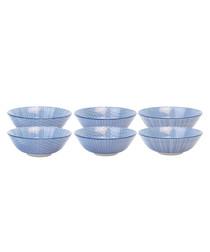6pc blue ceramic salad bowl 21cm