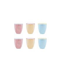 6pc multicolour mug set 30cl