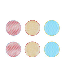 6pc multi-colour dessert plate set 21cm