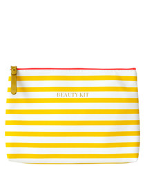 Beauty Kit yellow striped make-up bag