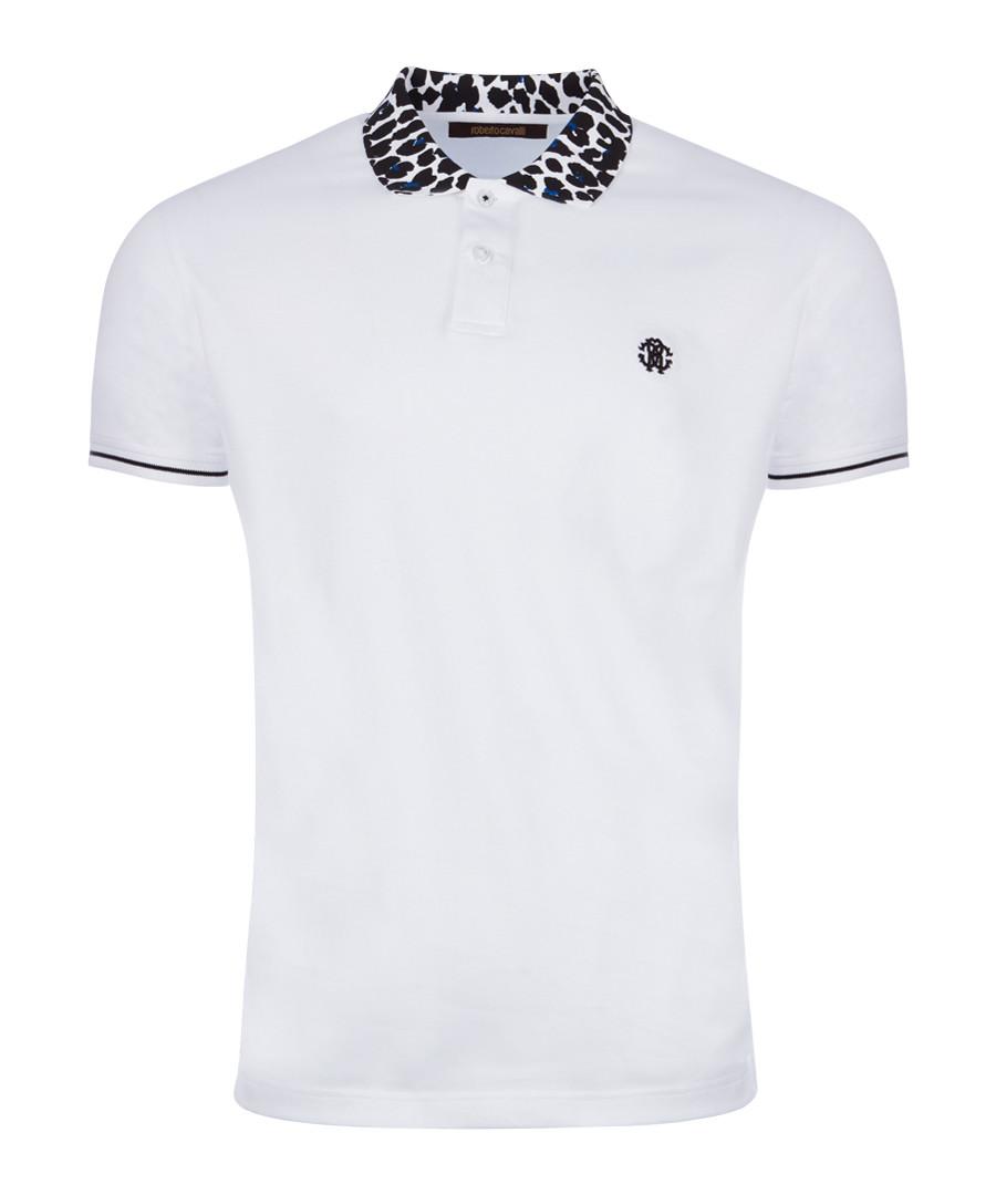 White & animal print cotton polo shirt Sale - Roberto Cavalli