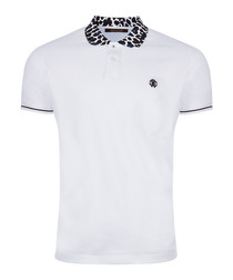 White & animal print cotton polo shirt