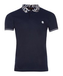 Navy & animal print cotton polo shirt