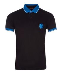 Black & blue cotton emblem polo shirt