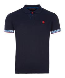 Navy cotton cuff detail polo shirt