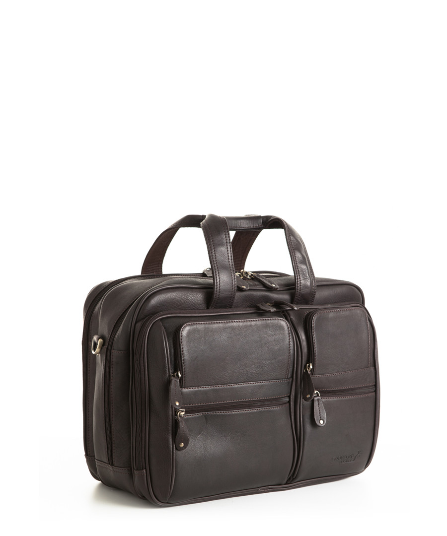 """Brown leather 16"""" laptop bag Sale - woodland leather"""