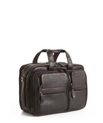 "Brown leather 16"" laptop bag"